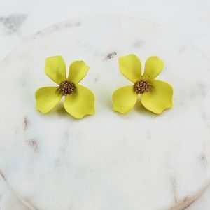 5 for $25 Yellow Color Flower Statement Earrings